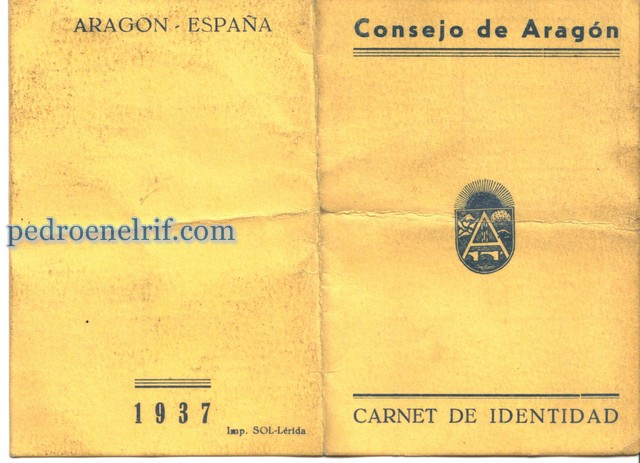 Carnet de identidad del Consejo de Aragón.