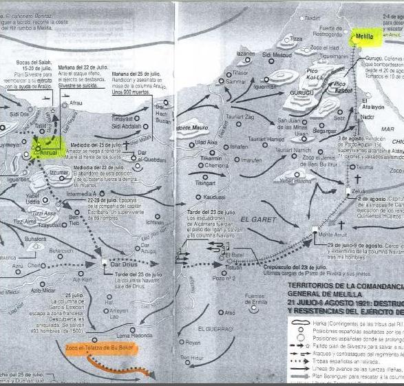 """Mapa extraído del libro """"Historia secreta de Annual"""", de Juan Pando Despierto. Con permiso del autor."""